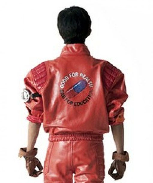 Akira Kaneda Jacket In Red Leather With Capsule Patch Akira Kaneda Kaneda Jacket Akira