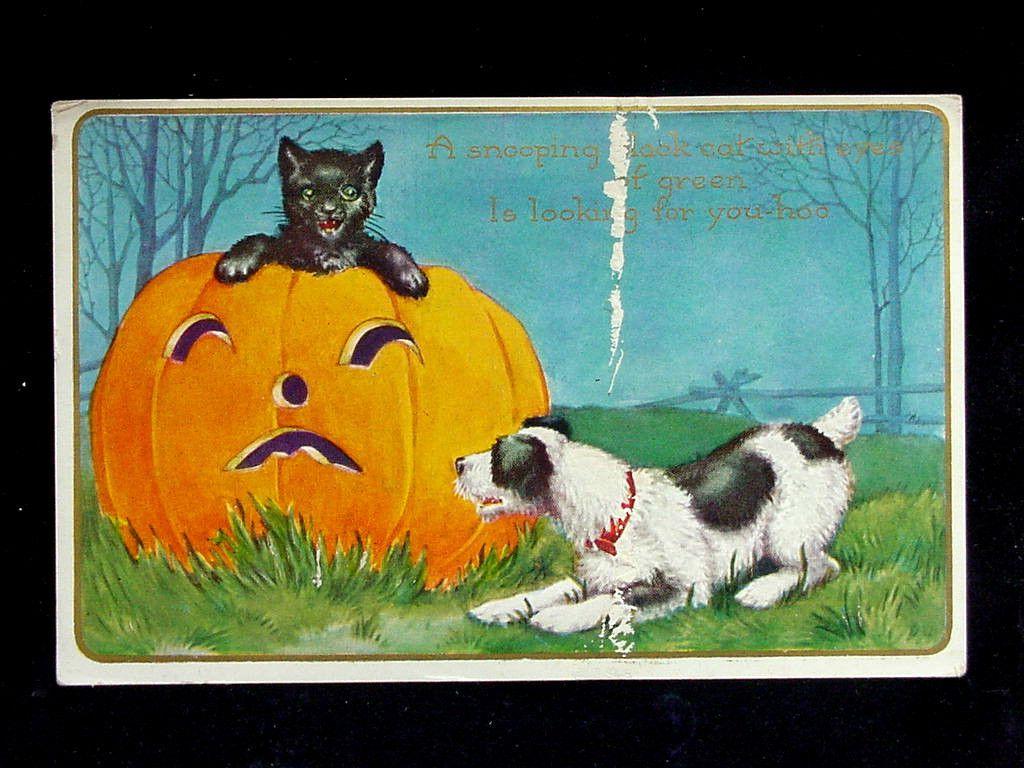 C 1915 Jack O Lantern Black Cat Dog Halloween Post Card Whitney Vintage Halloween Halloween Collectables Halloween Post