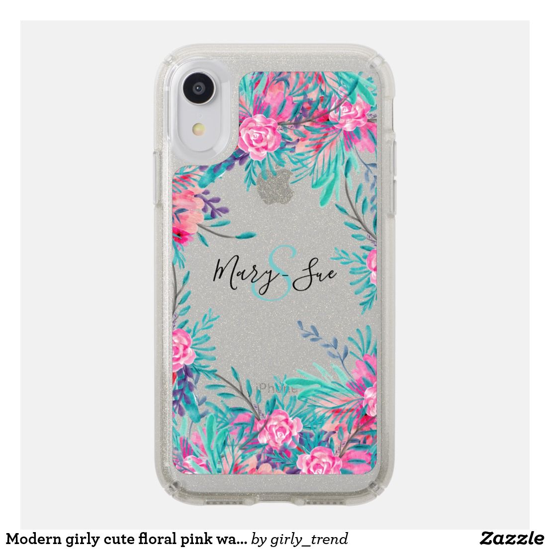 Modern girly cute floral pink watercolor monogram speck