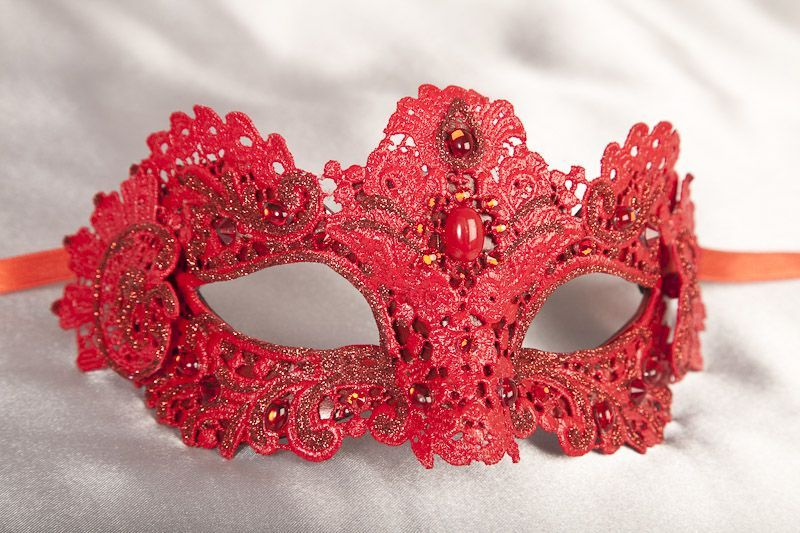 Red Venetian Lace Mardi Gras Masquerade Mask Embellished with Gems for Women