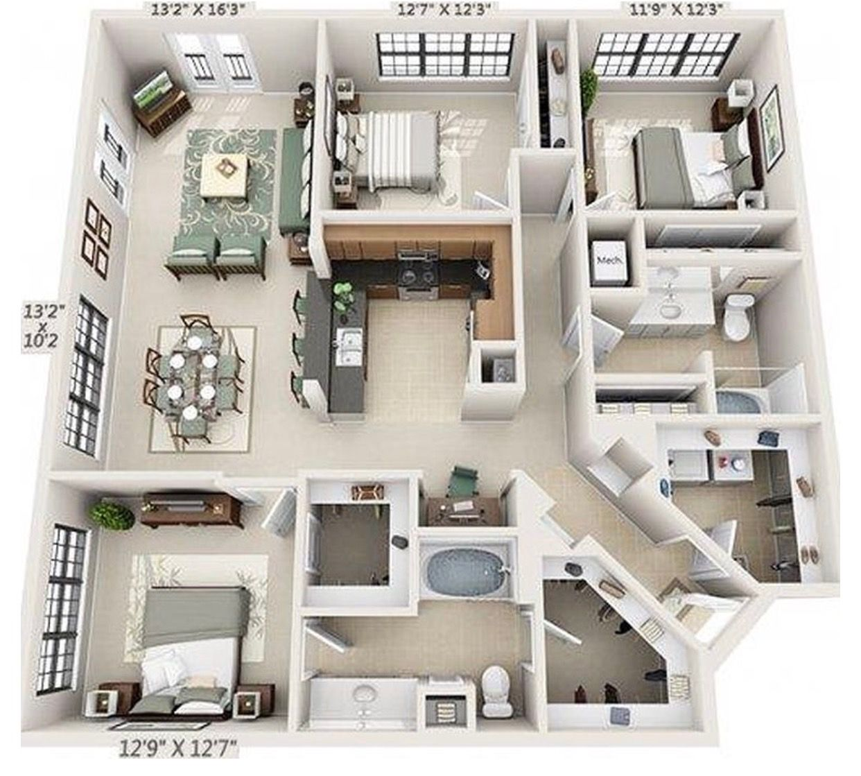 Pin By Adjaratou On Home Designs House Floor Plans Apartment Layout Sims House