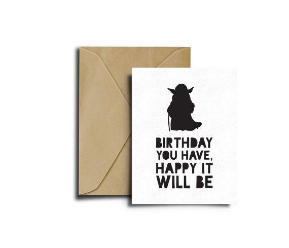 Star Wars Bithday Yoda Card Star Wars Birthday Card Birthday Card