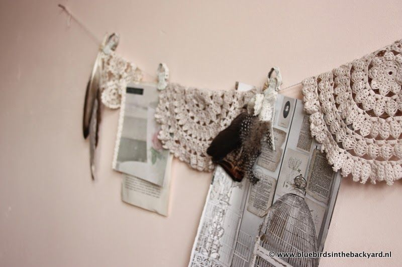 Bluebirds in the backyard: A string on the wall  Bohemian Shabby Styling at Home with feathers