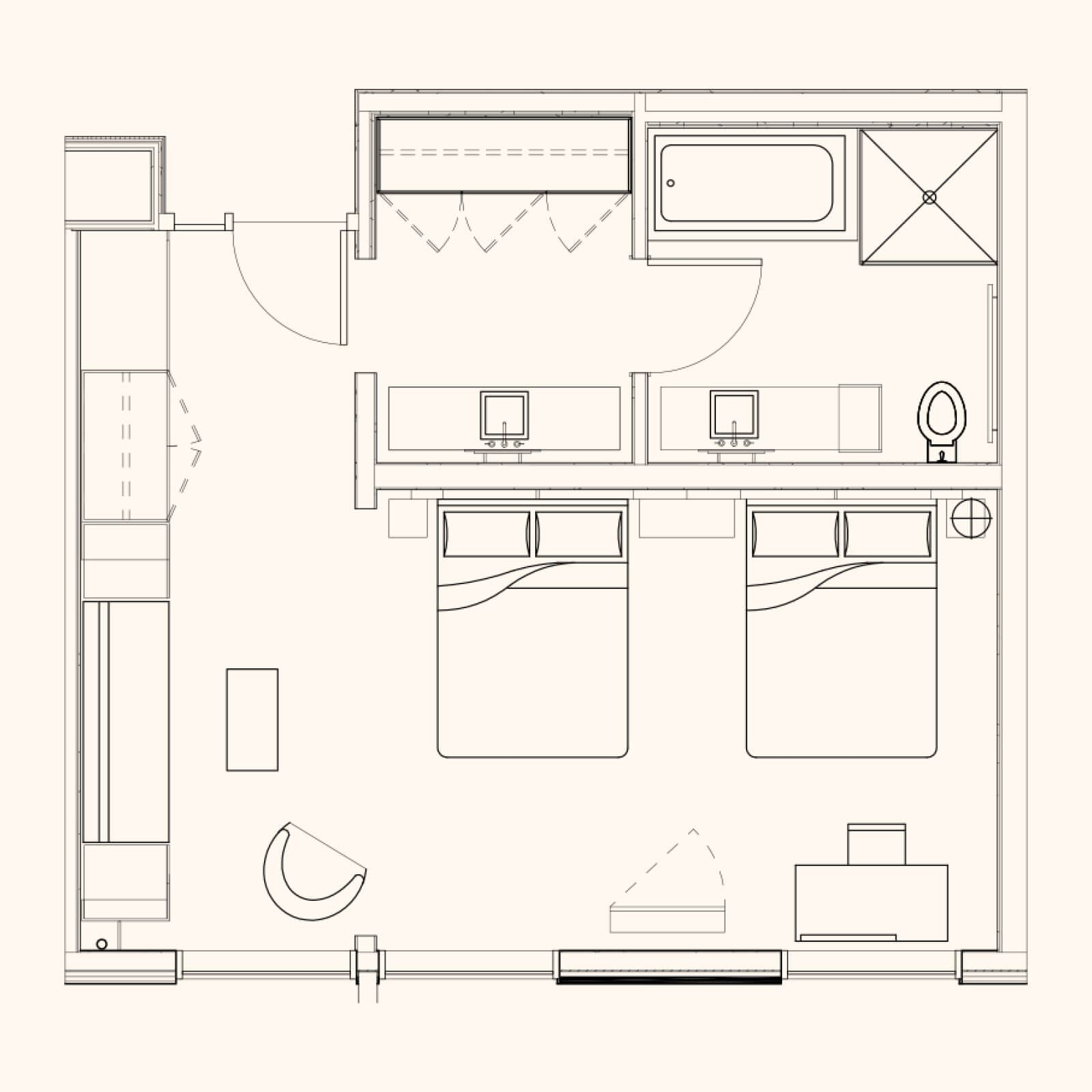 Pin By Pop Tiramongkol On Space Planing Layout In 2020 Small Hotel Room Hotel Room Plan Small Hotel