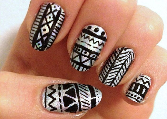 holo tribal nail design | Random Nail Art Likings | Pinterest