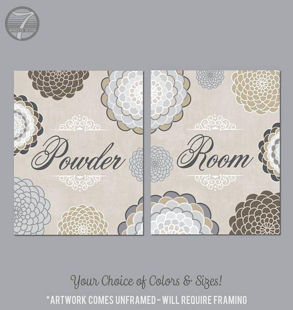 Neutral Colors For Small Powder Rooms: Bathroom Wall Art Prints, Powder Room, Beige Neutral Gray