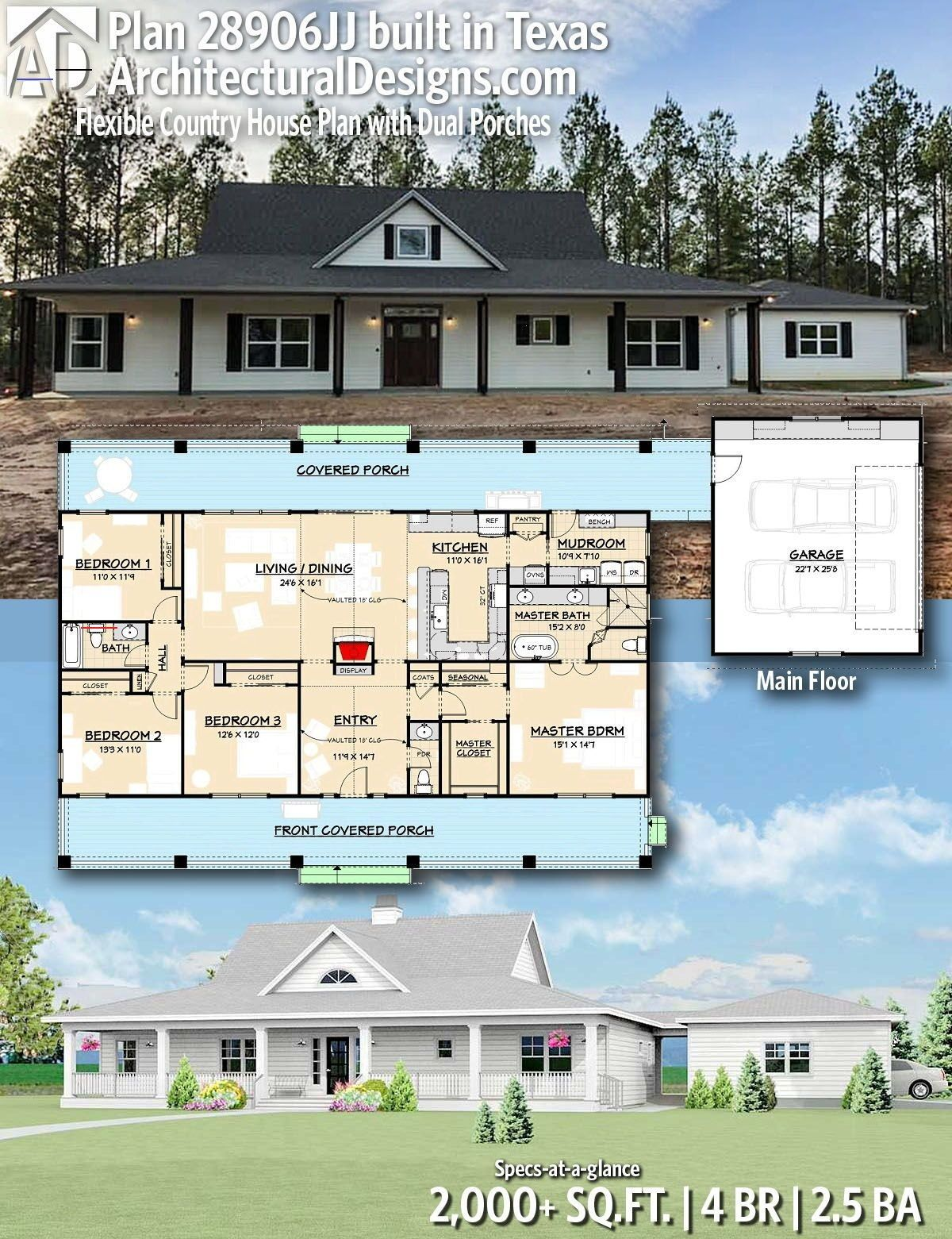 Plan 28906jj Flexible Country House Plan With Dual Porches Polebarnhomes Delightful Covered Por In 2020 Pole Barn House Plans Barn House Plans Country House Plan