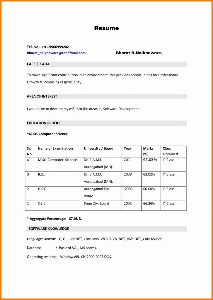 M Sc Nursing Resume Format Resume Format For Freshers New
