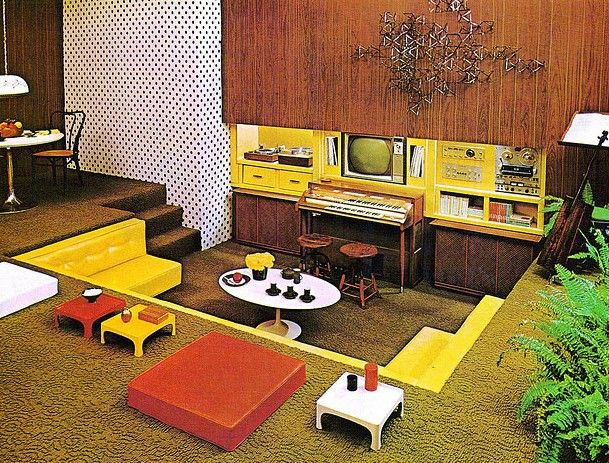 1970 S Decor Sunken Living Room In Green Brown Yellow And