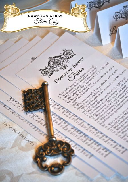 Downton Abbey Tea Party Free Printable Downton Abbey Trivia Quiz