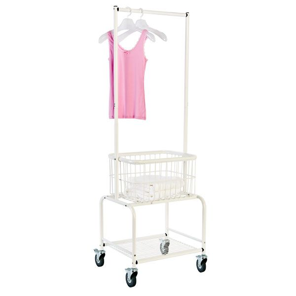 White Rolling Laundry Center With Wheels Container Store