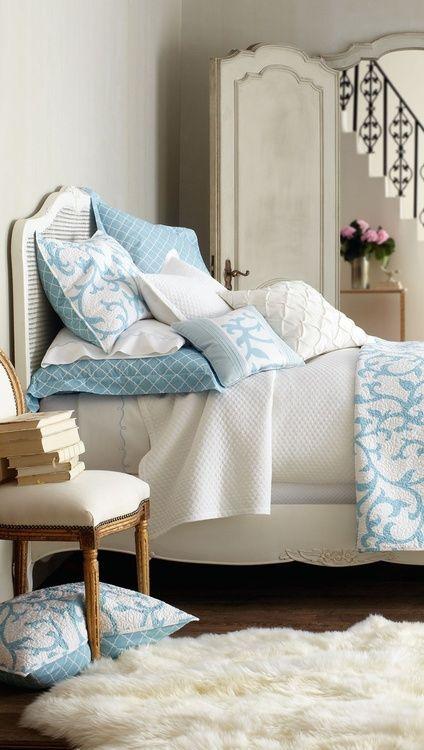 pretty blue and white bedroom ⭐ - Bedden | Pinterest - Bedden en ...