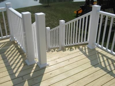 Best Redwood Deck With White Metal Railing Composite Deck 640 x 480