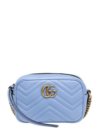 224ee98d2549 GUCCI MINI GG MARMONT 2.0 LEATHER BAG, SKY BLUE. #gucci #bags #shoulder  bags #leather #
