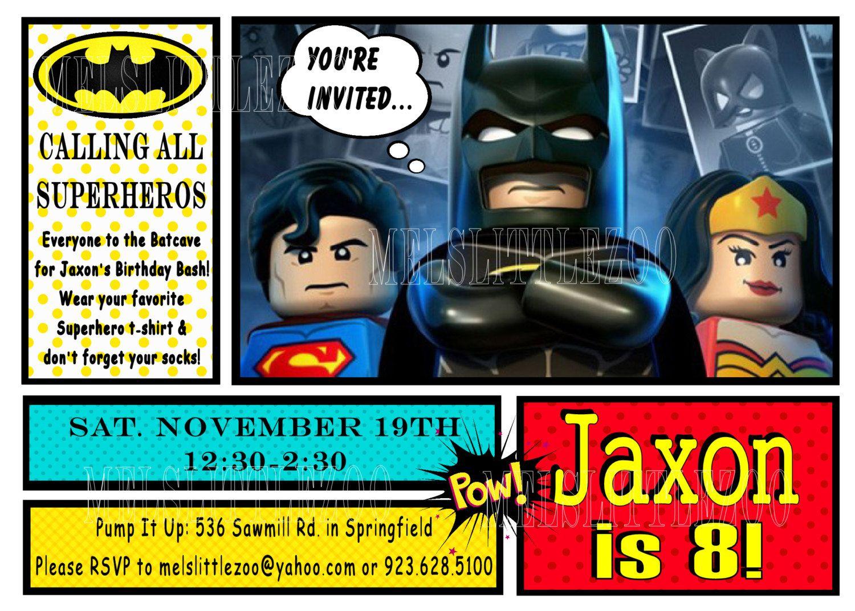 Lego Batman Digital Birthday Invitation by melslittlezoo on Etsy ...