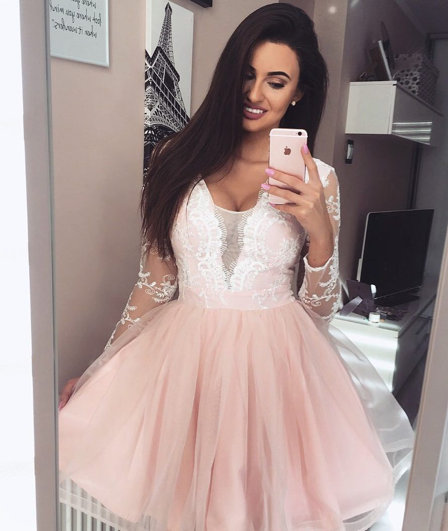 Scoop pearl pink tulle homecoming party dress with sleeves lace in