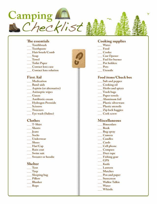 Camping checklist - Free Printable Coloring Pages Camping - printable checklist