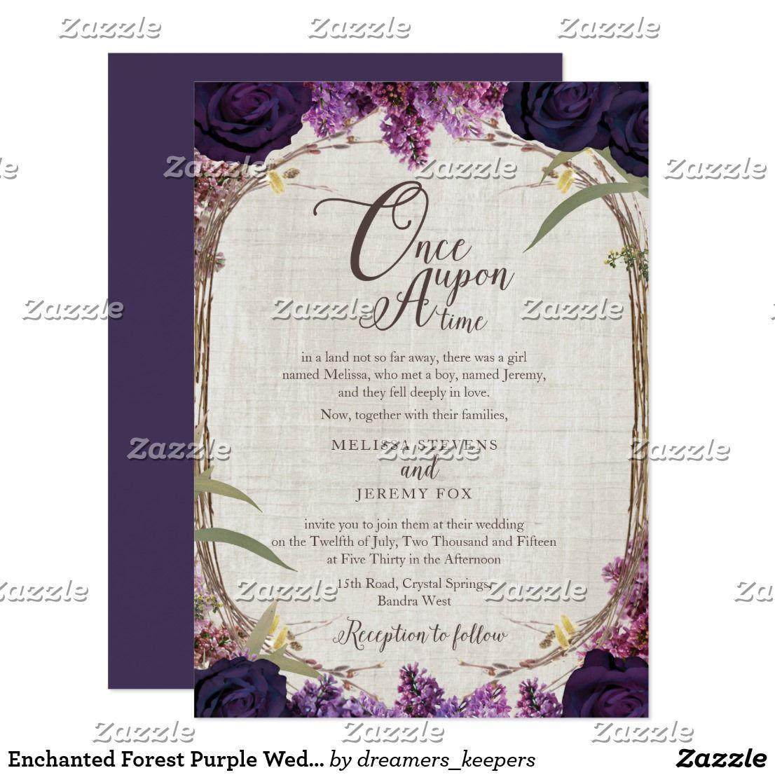 Enchanted Forest Purple Wedding Invitation Card Zazzle Com Wedding Invitation Cards Purple Wedding Invitations Zazzle Wedding Invitations