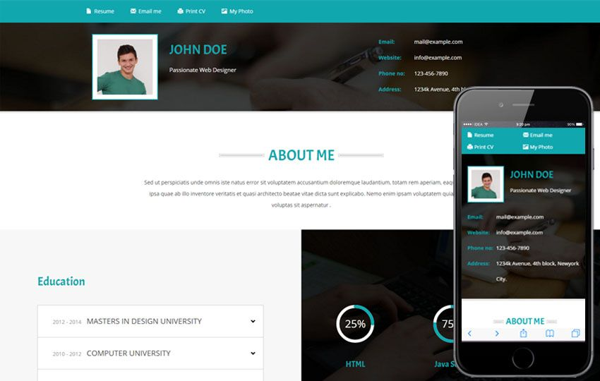 Resume Website Template Personal Website Templates  Cyberuse  Cool Template  Pinterest