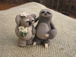 Sloth And Koala Love Wedding Cake Topper