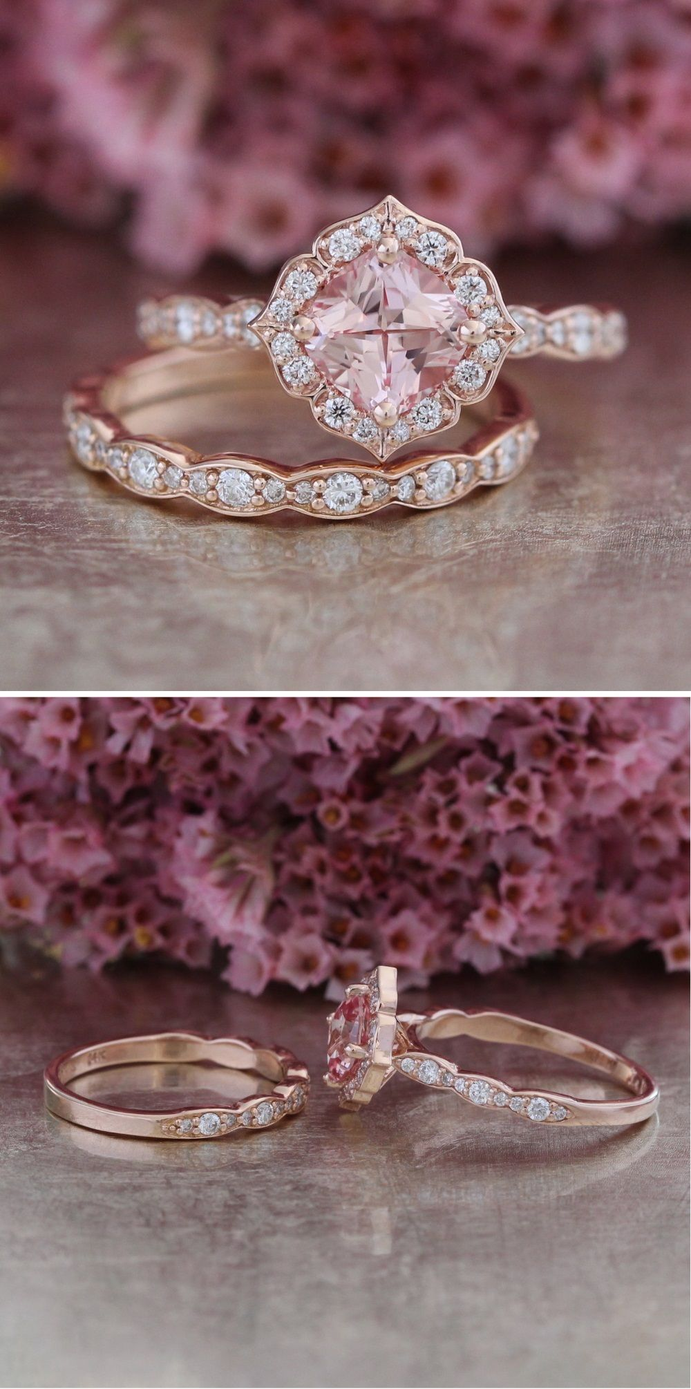 Pink Sapphire Engagement Ring Pink Sapphire Ring Engagement Pink Sapphire Engagement Wedding Rings Vintage