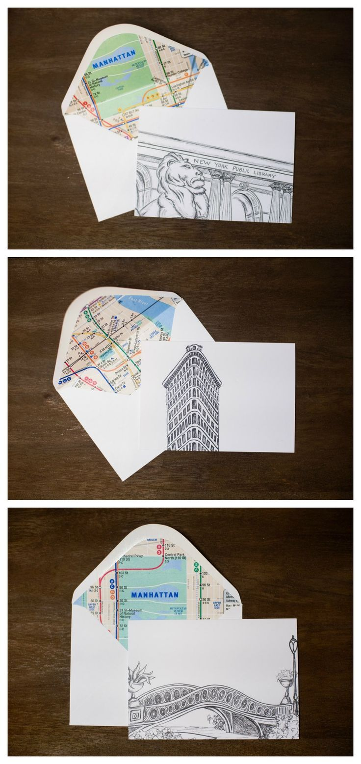 New York City Icon Greeting Cards With Subway Map Liners Great For