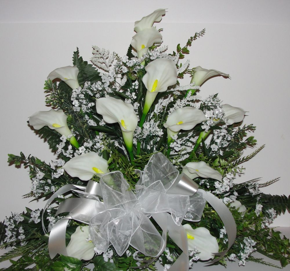 White calla lily bridal weddings altar silk flower babys breath white calla lily bridal weddings altar silk flower babys breath fern decor dhlflorist Images