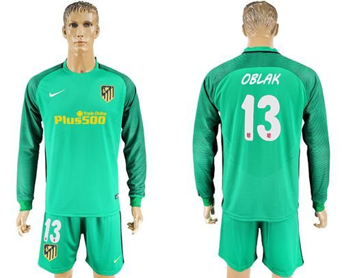 ad99a65daba 2017-2018 Atletico Madrid  13 Oblak Green Goalkeeper Long Sleeves Soccer  Club Jersey