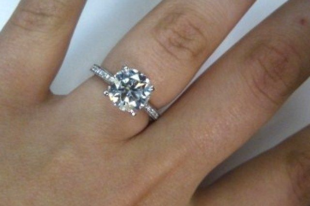 160 carat round diamond engagement ring f vs2 egl certified used engagement rings - Used Wedding Rings