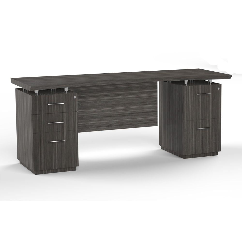 """$889 Double Mixed Pedestal Credenza with Modesty Panel - 72""""W"""