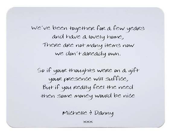 Perfect Wedding Gift For Best Friend: 10 X Personalised Gift Poem Cards / Wedding Money Wish