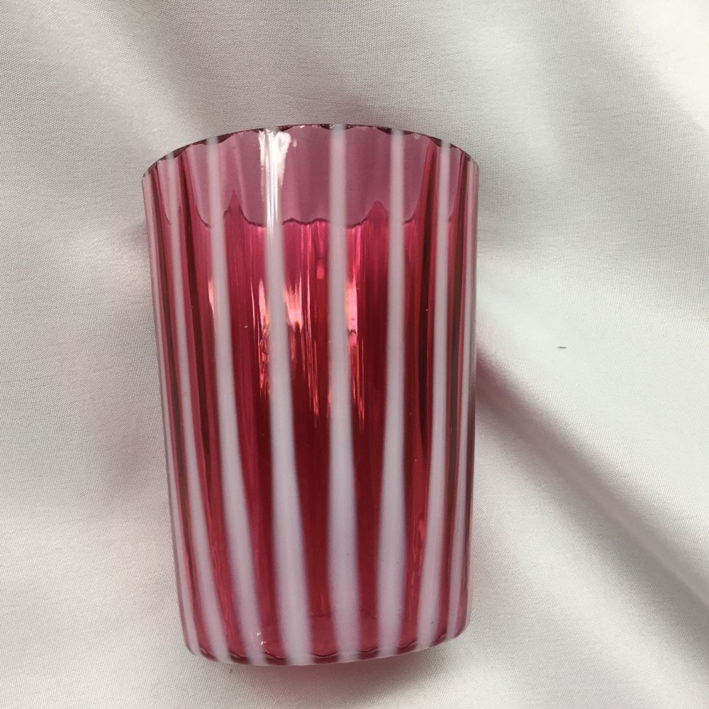 Antique Victorian Cranberry And Opalescent Stripe Glass