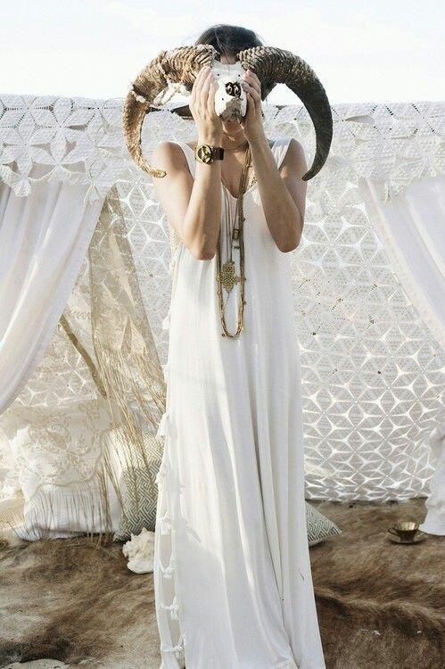 Hippie bohemian outdoor wedding ram skull