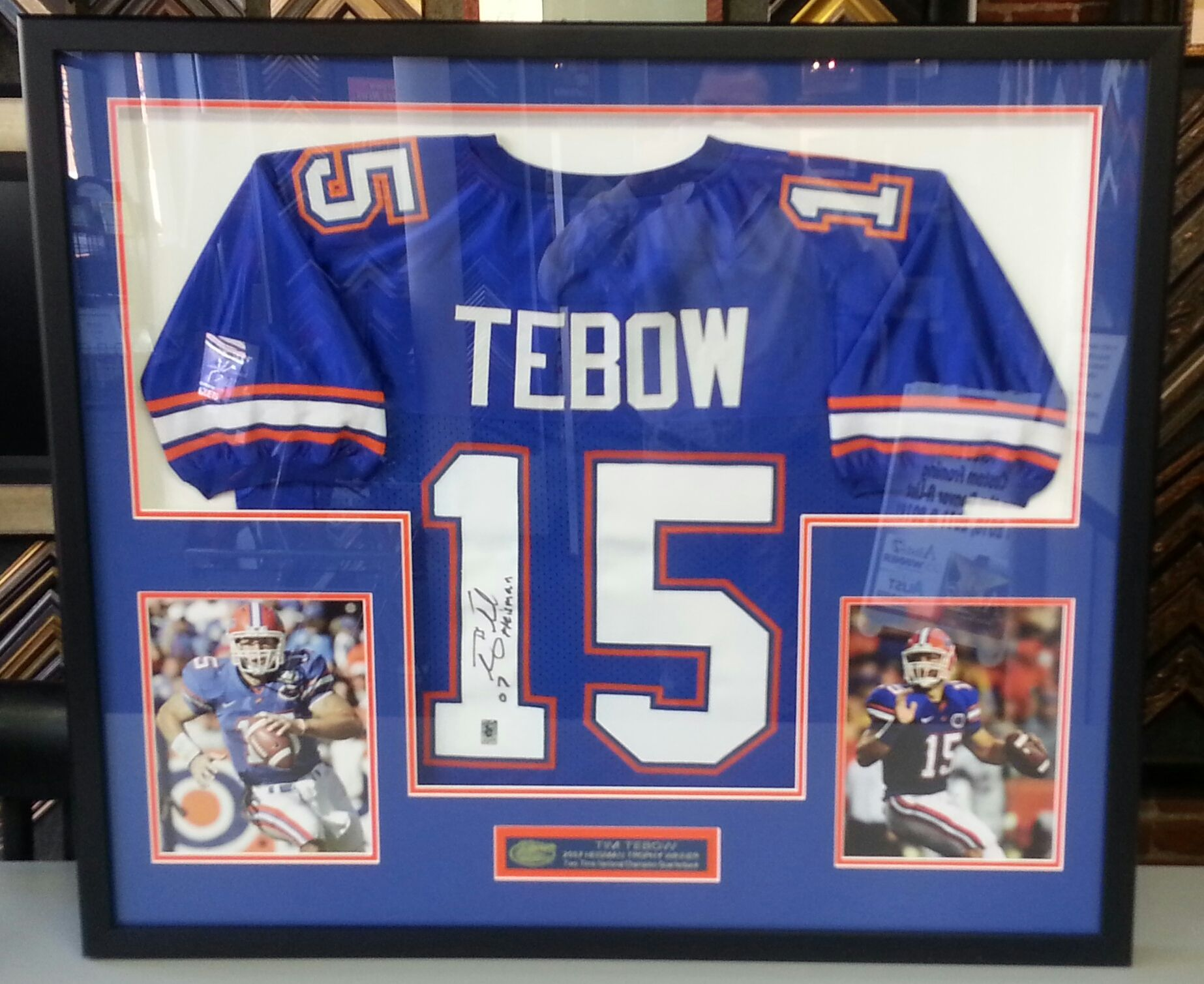 the best attitude 10419 a2307 Custom framed Tim Tebow Florida Gators jersey with photos ...