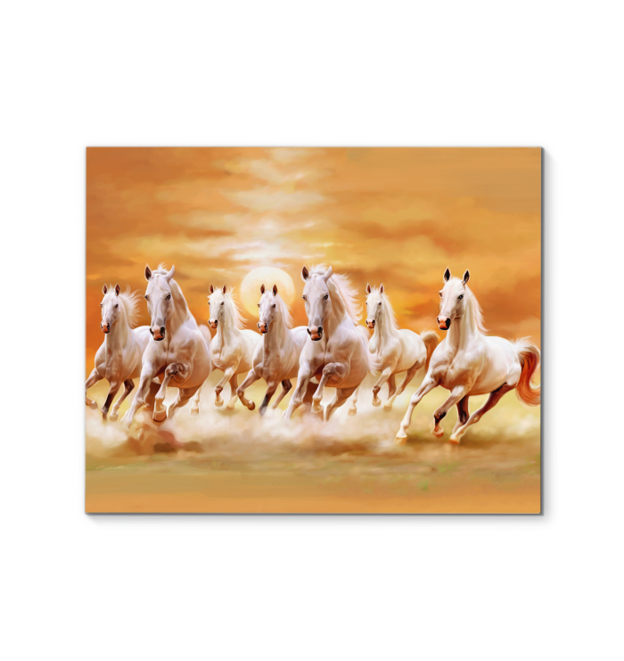 Horse Running In The Sunset Canvas Print Horse Canvas Painting Seven Horses Painting Horse Painting