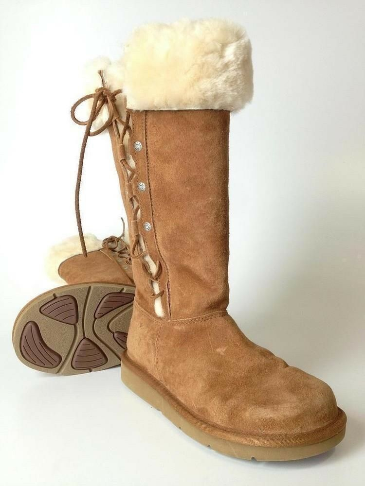 efdbbb8b9c4 UGGS BROWN SUEDE FUR LINED & TRIM SIDE LACE UP BOOTS WOMENS 8M ...