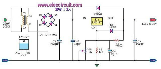 My First Variable Power Supply Using Lm317 Eleccircuit Power Supply Circuit Power Supply Circuit Diagram