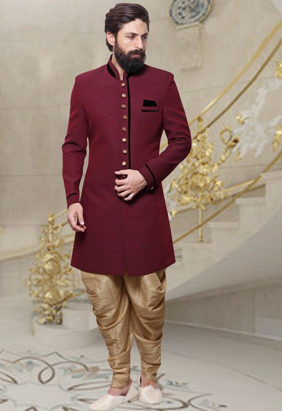 971ac38b26 Wine Red and Beige Men's Indo Western.Get the outfit for Manufacturer rate  call or WhatsApp at +91-9511613559