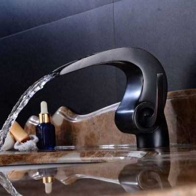 Oil Rubbed Bronze Waterfall Bathroom Sink Faucet Single Handle One