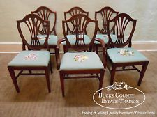 1940s Mahogany Set Of 6 Traditional Federal Style Shield Back Dining Chairs Chair Dining Chairs 1940s Home