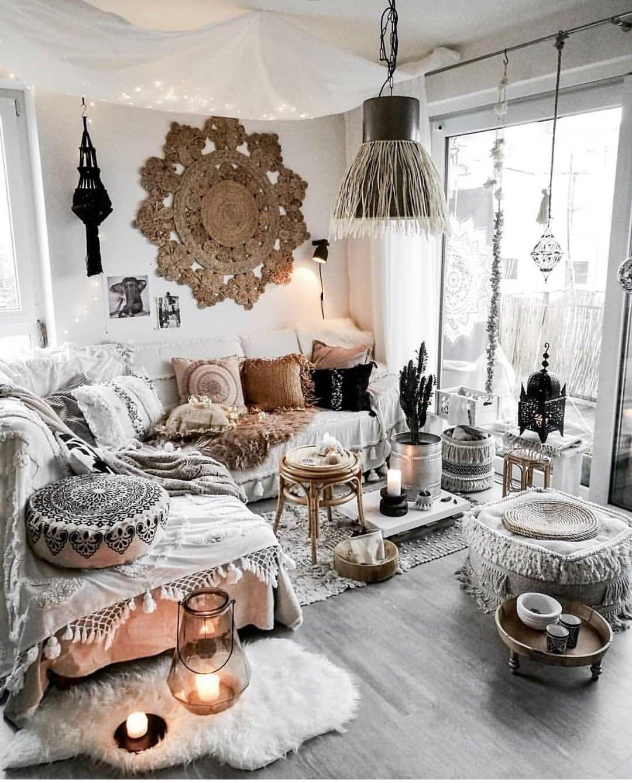 Bohemian Scandi Nordic Black And White Neutral Natural Home Decor Bohemian Living Room Decor Hygge Living Room Hygge Living