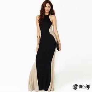 Women Swerve Halter Two-tone Maxi Evening Dress - Sears | Fashion ...
