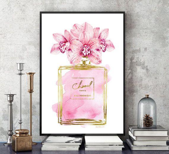 Perfume de moda inspirado acuarela de orquídea rosa con efecto de papel de aluminio. La hoja es un efecto, debido a las impresoras no son capaces de imprimir papel.  -Dimensiones: seleccione del menú desplegable -8 x 10 pulgadas 12 x 18 pulgadas, 16 x 20 pulgadas, 12 x 16 pulgadas, 18 x 24 pulgadas -24 x 36 pulgadas está disponible, por favor mensaje para el anuncio. -Impreso en papel sin ácido, archivo. -Carteles calidad realizados sobre papel grueso, durable, mate. -Arte la mayoría se…