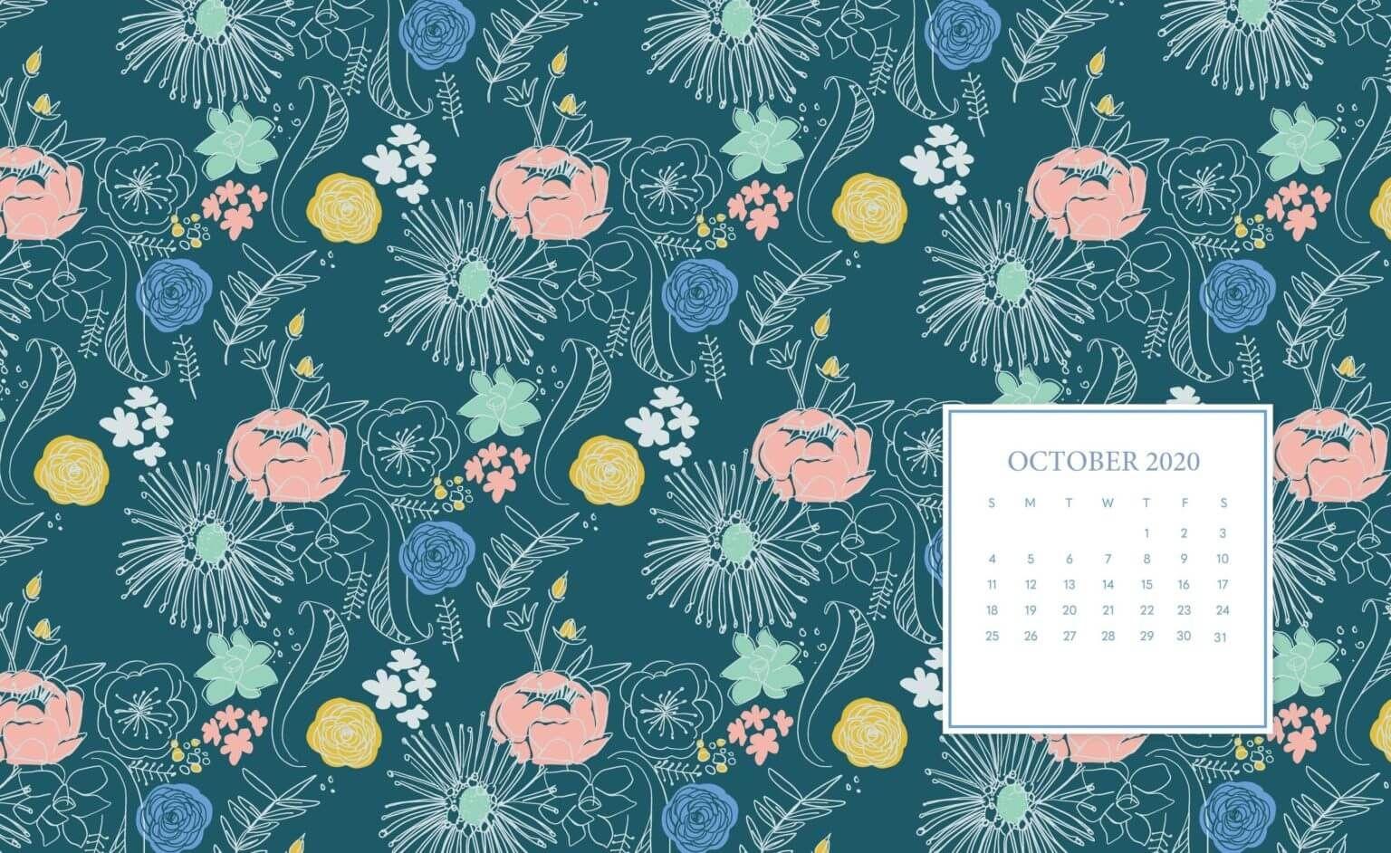 October 2020 Desktop Calendar Wallpaper In 2020 Calendar Wallpaper October Wallpaper Desktop Wallpaper Calendar