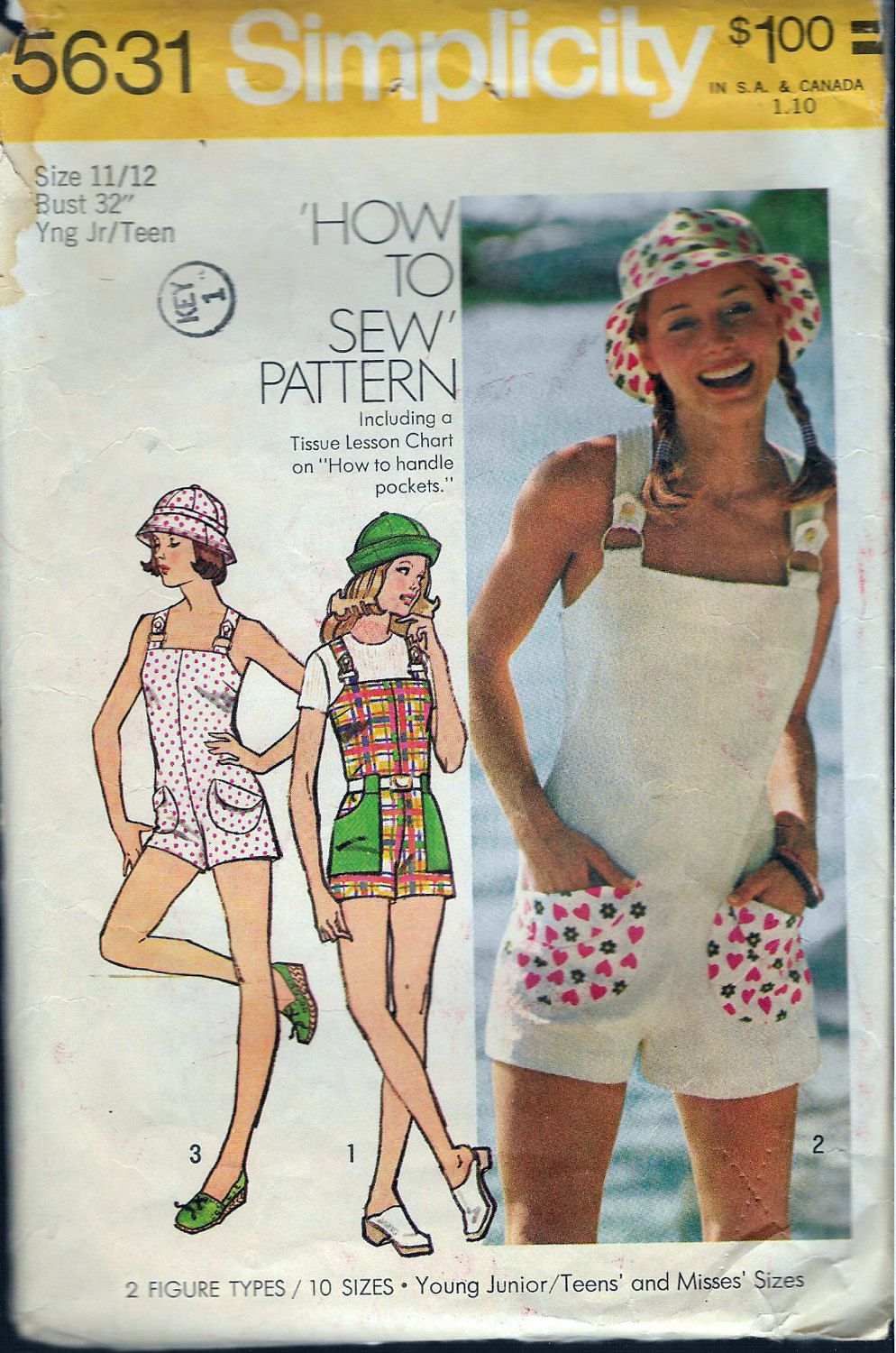3c866eb04b6f Vintage 1973 Simplicity 5631 Retro Jumpsuit Romper   Hat Sewing Pattern  Size 11 12 Bust 32