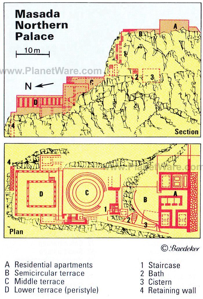 masada - northern palace - floor plan map | biblical archeology