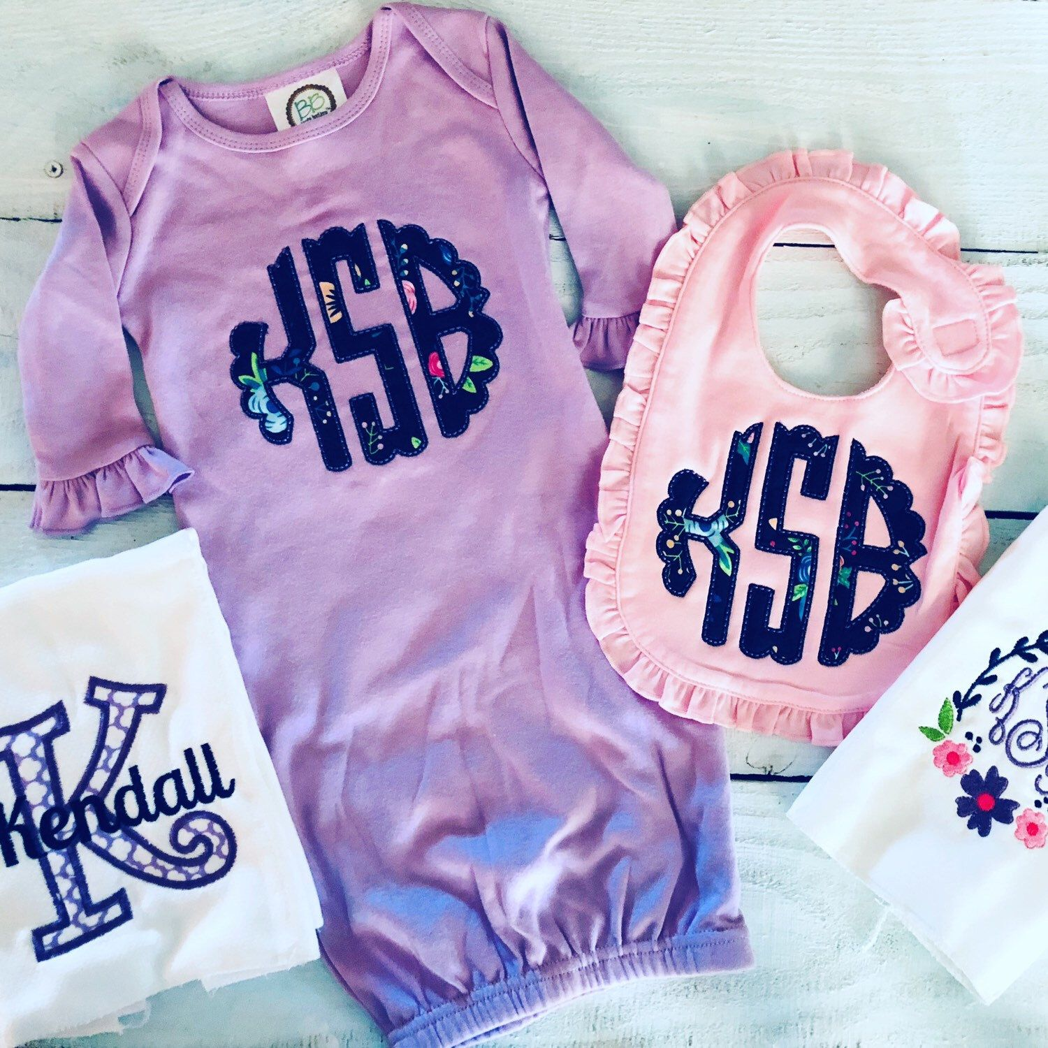 coming home set bib Monogrammed baby girl gown set hat set monogrammed baby shower gift gown personalized baby shower gift
