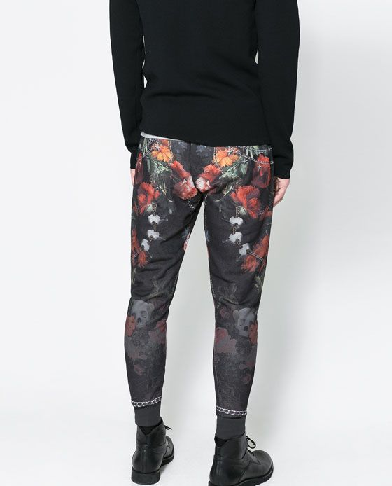 pantalón estampado floral hombre zara