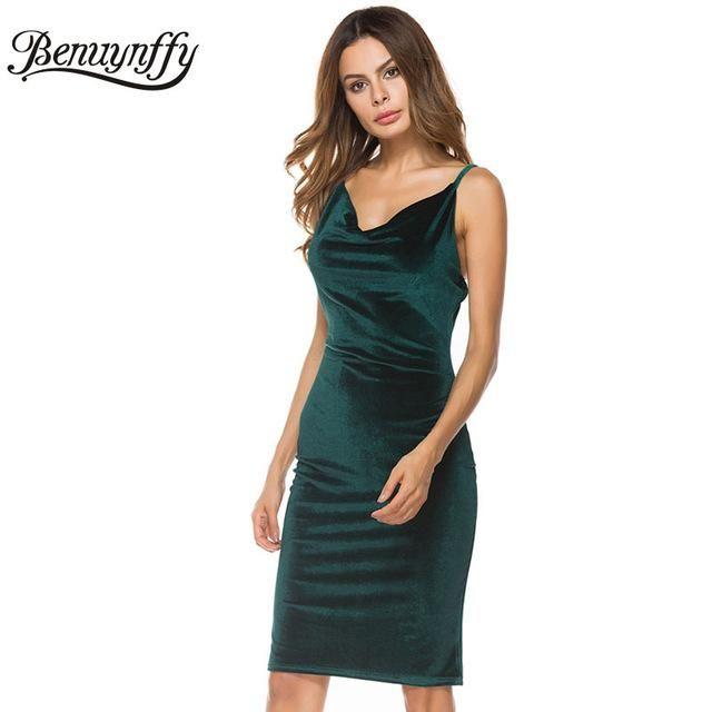 Benuynffy Women Sexy Spaghetti strap Midi Dresses Elegant Solid Velvet Club Party Backless One-Piece Bodycon Pencil Dress Q856