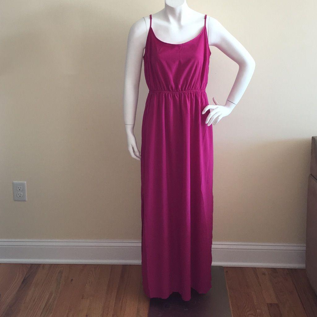 Like new old navy long sleeveless fuchsia dress lg fuchsia dress